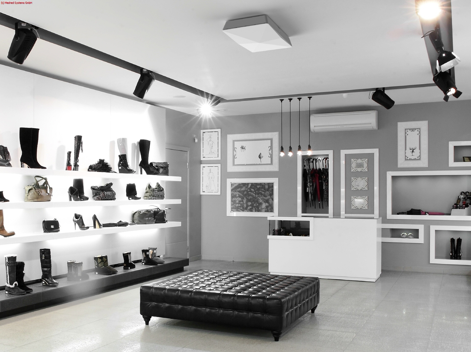 Designer shoes neatly displayed on shelves with RFID tags