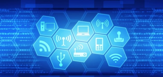 Deep blue background with technology icons arrayed in hexgons