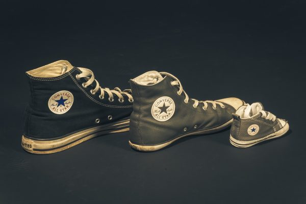 Three different sizes of converse shows in descending order
